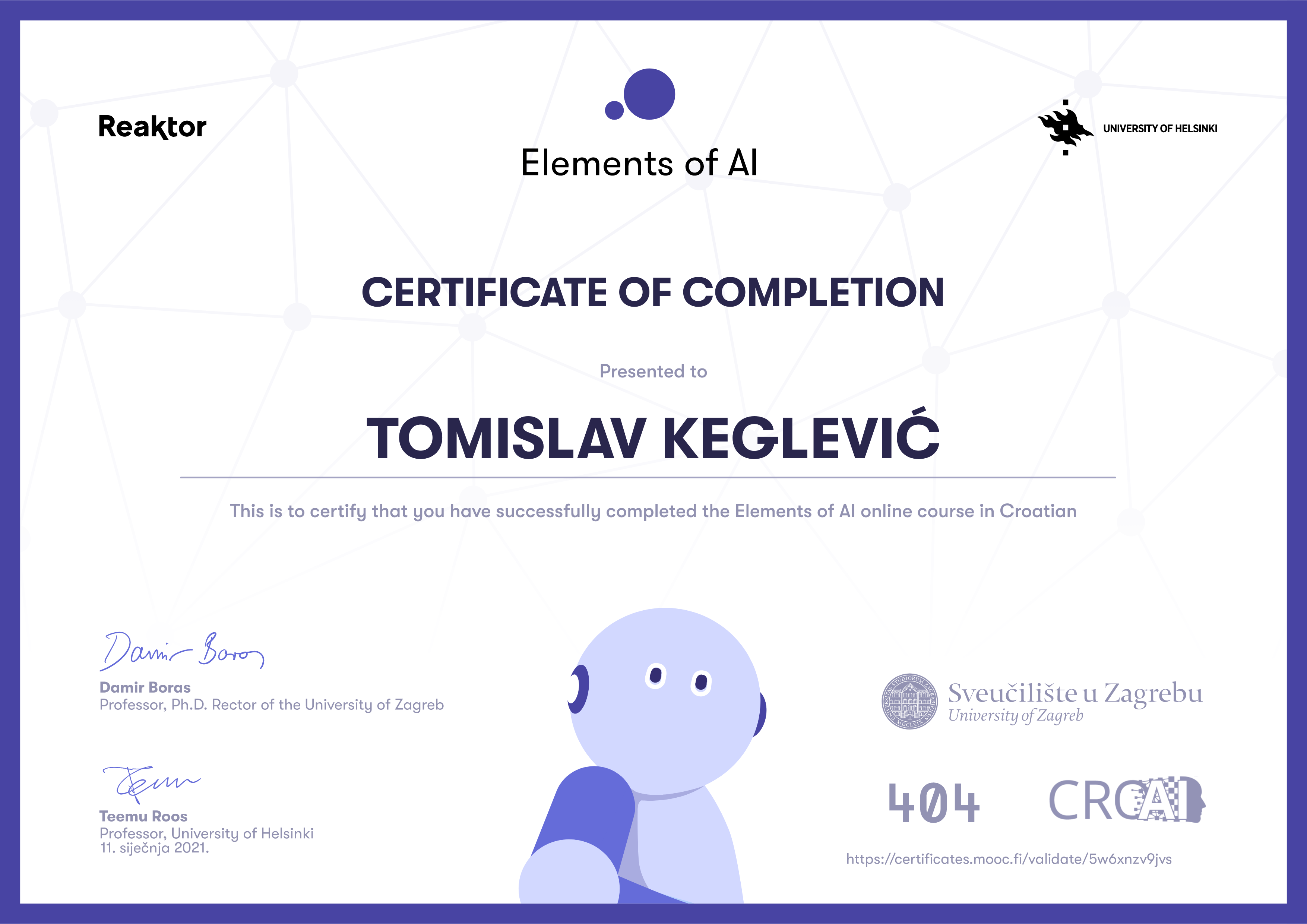 Certificate elements of ai hr